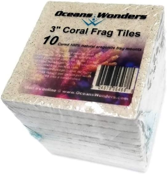 Oceans Wonders Ceramic XXL 3 Coral Frag Tiles 10pc
