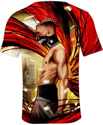 Manches Xxxtentacion Panozon Yeux Homme 3d Imprimé Rouges Masque 1 Courtes dwtrwHPq