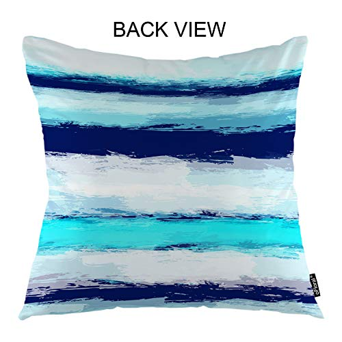 "oFloral Wave Throw Pillow Cover Sea Stripes Invitation Line Ocean Waves Decorative Square Pillow Case 18""X18"" Pillowcase Home Decor for Sofa Bedroom"