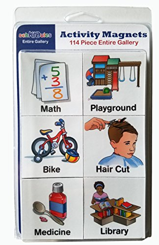 "SchKIDules® Visual Schedules ""114 Pc Entire Gallery"" w/ 114 Home, School and Behavioral Themed Activity Magnets"