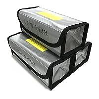 (3 Pack) Lipo Battery Safe Bag Fireproof Explosionproof Lipo Battery Guard Safe Bag?185x75x60mm?