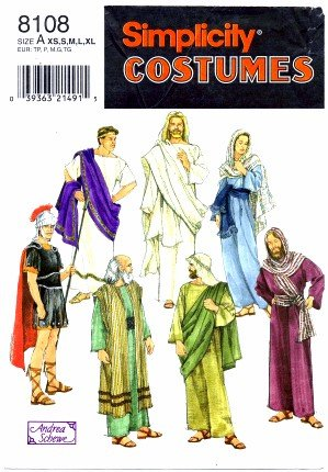 [Simplicity 8108 Sewing Pattern Adult Biblical Passion Play Costumes Bust / Chest 30 - 48] (Toga Costumes Patterns)