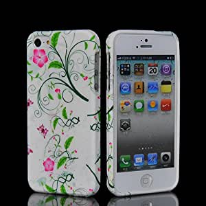 EVERGREENBUYING Floral Pattern Soft Gel TPU Silicone Back Shell Case Cover With Screen Protector For Apple Iphone 5 5G 5S 5th 06