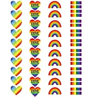 40 Pieces Rainbow Temporary Tattoos, Waterproof Rainbow Flag Tattoo Stickers for Pride Equality Parades and Celebrations (4 Styles)