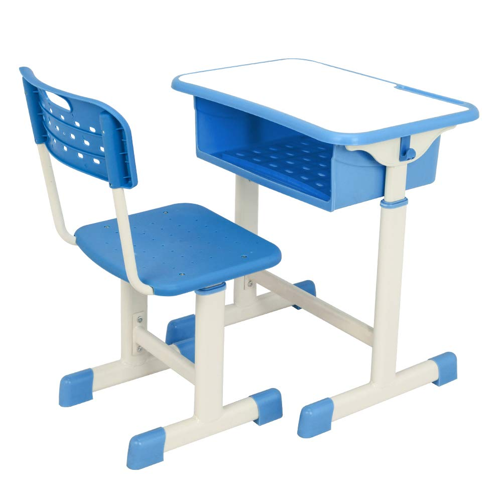 FCH Children's Desk and Chair Set,Height Adjustable Desk and Chair with Hanging Hooks and Pencil Groove (Blue)