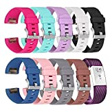 Charge 2 Band for Fitbit, Greatgo Adjustable Soft Silicone Replacement Bracelet Strap Band Wristband for Fitbit Charge 2 Smart Watch - 3D Rhombic Style, Length 6''-8.5'', 10 Colors