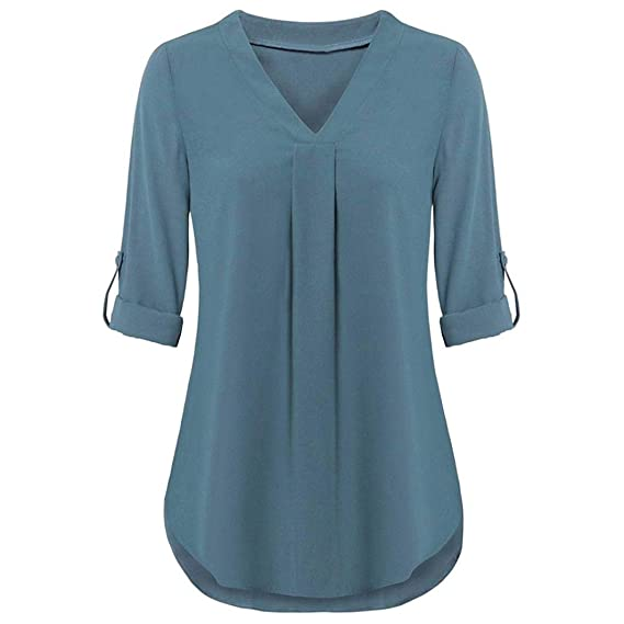 Mujeres Tops Rovinci Mujer Cómodo Sólido Manga Larga Enrollar Tops Casual Cuello en V Capas Camisa Blusas: Amazon.es: Deportes y aire libre