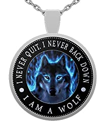"""I am Wolf"" Native American Spirit Wolf Head Pendant Necklace - Inspirational Gift For Men And Women"