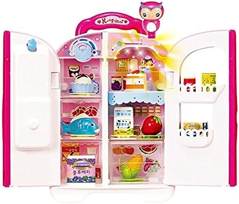 KONGSUNI Series Talking Toy Fridge for Kids, Toy Refrigerator Toy Food Set Real Water Comes Out Toy Water Dispenser … (Korean)