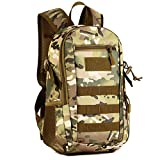 12L Mini Daypack Military MOLLE Backpack Rucksack Gear Tactical Assault Pack Student School Bag (CP camo)