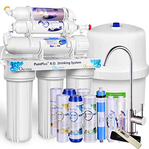 PurePlus 6-stage Reverse Osmosis Water Filtration System withAlkaline, 80 GPD Under Sink RO Filter Drinking Systems,Plus NSF 58 certified LG Original Membrane-1-year FDA Certified Filters