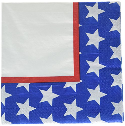 (Red, White and Blue Stars Luncheon Napkins Patriotic 4th of July Party Disposable Tableware, 2-ply, Paper, 6.5