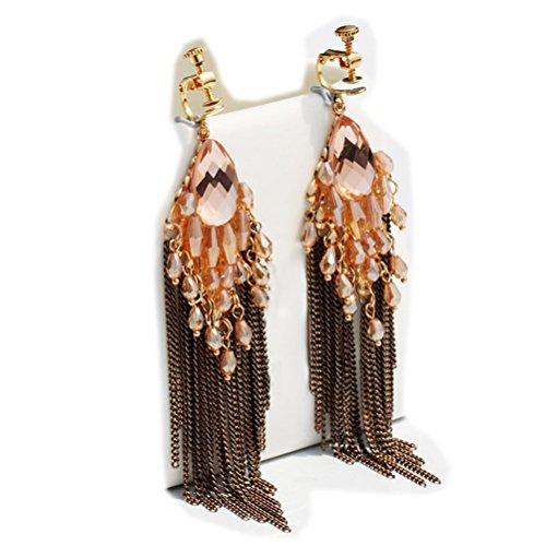 CNCbetter Women Fashion Charms Coffee Crystal Charms Long Dangle Tassel Screw Back Clip On Earring