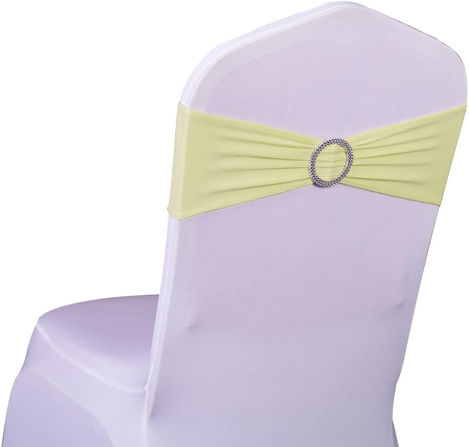 SINSSOWL 100 St/ück Stretch Elastic Slider Stuhl Cover-Band mit Schnalle f/ür Hochzeit Decor Lycra Stuhl Sch/ärpen