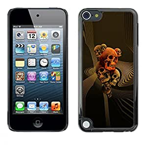 Paccase / SLIM PC / Aliminium Casa Carcasa Funda Case Cover - Gold Orange Music Death Bones Rock - Apple iPod Touch 5