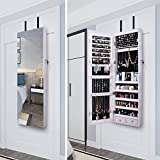 AOOU Jewelry Organizer Jewelry Cabinet, Full Screen Display View Larger Mirror, Lockable Wall Door Mounted, Full Length Mirror (White-1)