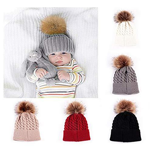 oenbopo Baby Winter Warm Knit Hat Infant Toddler Kid Crochet Fur Hat Beanie Cap Grey