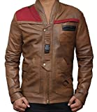 Star Wars Finn Outerwear Jacket Real Brown Leather Jackets Holiday Gifts (M, Chocolate Brown)