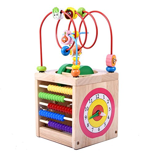 Moombike Wooden Activity Cube Bead Maze Toy for Kids and Toddlers, 6 in 1 Multipurpose Educational Toy - Roller Maze, Time Learning Clock, Counting Alphabet ,Abacus and More Fun Games Activity (Big Time Learning Clocks)