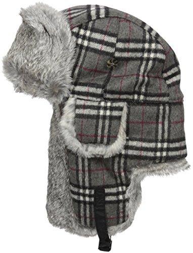 Mad Bomber Original Blue Plaid Wool Pilot Bomber Hat Real Rabbit Fur Trapper Hunting Cap, -