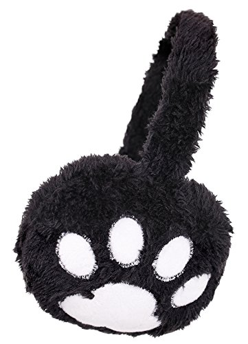 Kids Girls Winter Warm Faux Fur Plush Paw Printed Ear Warmers Earmuffs Black