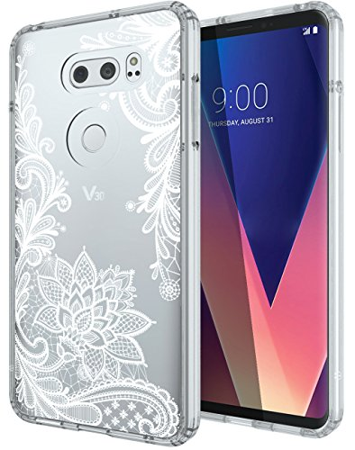 LG V30/LG V30 Plus/LG V30S ThinQ/LG V35/LG V35 ThinQ Case, SWODERS Flower  Clear Design Shock Absorbing TPU + Hard PC Bumper Case Cover For LG V30/LG