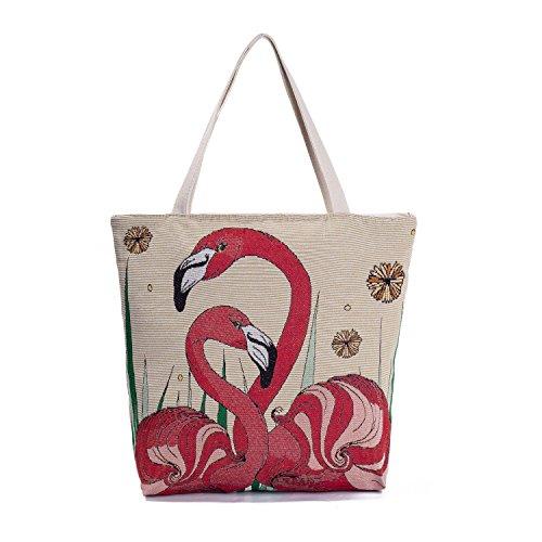 Canvas Tote Bag--Cute Flamingo Embroidered Jacquard Women's Handbag Ecofriendly Geocery Shopping Foldaway Handmade Bags]()
