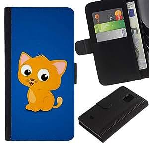 KingStore / Leather Etui en cuir / Samsung Galaxy S5 Mini, SM-G800 / Lindo gato