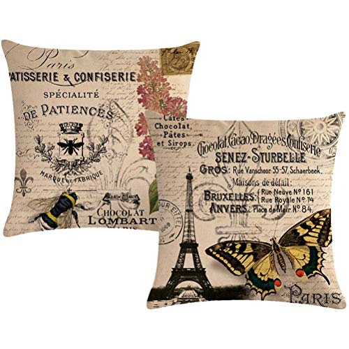 7COLORROOM Vintage Paris Throw Pillow Covers Eiffel Tower Stamp Letter Cushion Covers with Butterfly&Honeybee Pattern Home Decorative Square Pillow Case 18