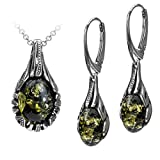 Sterling Silver Green Amber Drop Earrings Necklace Set 18 Inches