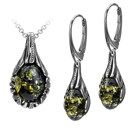 Sterling-Silver-Green-Amber-Drop-Earrings-Necklace-Set-18-Inches