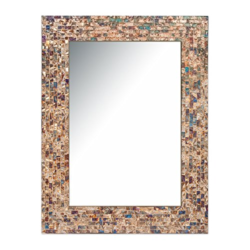 Multi-Colored & Gold, Luxe Mosaic Glass Framed Wall Mirror, Decorative Embossed Mosaic Rectangular Vanity Mirror / Accent Mirror (18
