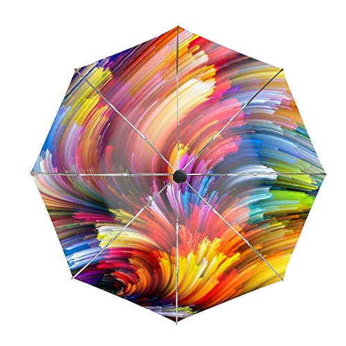 Golf Windproof Umbrella, Compact Auto Open Close Spiral Clouds Of Colored Light Travel Umbrella