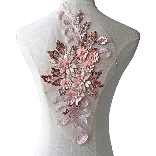 (Exquisite 3D Flower Applique,Beaded,Sequined,Pale Pink Floral Patch Lace Appliques Motif Sew onto Dance Costumes Evening Dresses)