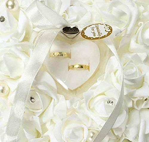 mossty Wedding Ring Pillow,Rose Heart Ring Box Wedding Accessories White Ring Pillow Wedding Lace Crystal by mossty (Image #4)