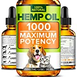Hemp Oil for Dogs and Cats - 1000mg - Stress & Anxiety Relief - Advanced Formula - Grown & Made in USA - Supports Hip & Joint Health, Natural Relief for Separation Anxiety.