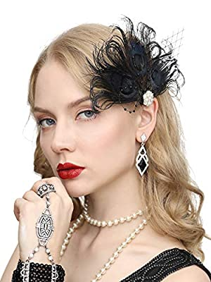 1920s Gatsby Acessories Peacock Costume Hair Clip with Feather Pearl 1920 Flapper Headpiece
