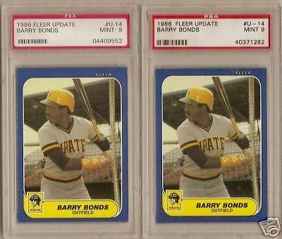 (2) 1986 Fleer Update Barry Bonds Rookie PSA Mint 9