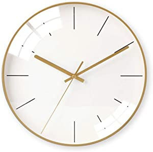 Yangmani Golden Nordic Minimalist Wall Clock Minimalist Glass and Metal Materials Electronic Watches Creative Personality Mute Bell The Size of 35cm 35cm 4.5cm Wall Clocks