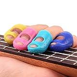 Guitar Fingertip Protectors, Iusun Colored Finger Guards For Ukulele Guitar Accessories (Color Random,4PC,Size S)