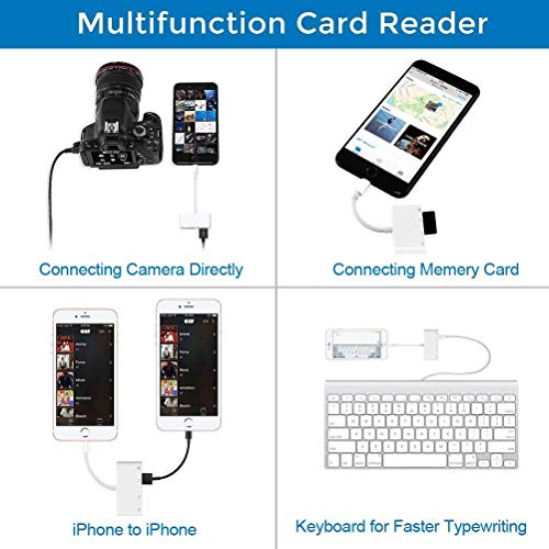 Weytech Lightning to USB Camera Adapter, 4 in 1 SD/TF Card Reader, Trail Game Camera Card Viewer Reader, Micro SD Card Reader USB 3.0 OTG Cable for iPhone X 8 7 6 Plus and iPad, Plug and Play by Weytech (Image #2)