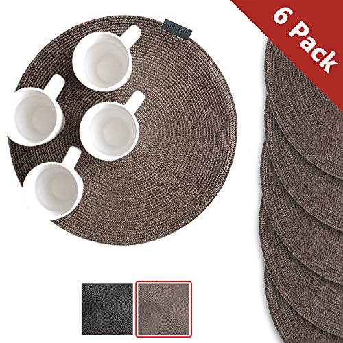 Lungfish Round Place Mats for Kitchen Dining Table Mats Woven Washable Placemats Chocolate 15″, Set of 6