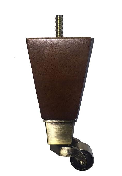 amazon com 6 dark walnut finish mid century sofa leg with brass rh amazon com sofa legs with brass casters Wood Furniture Legs with Casters