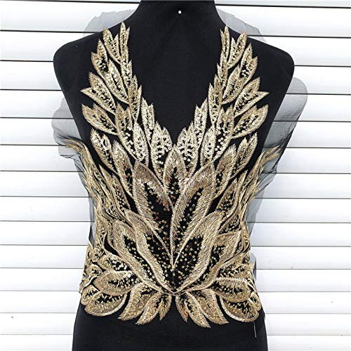 1 pcs Gold Embroidered Yarn Sequins Phoenix Phoenix Tail Feather Butterfly Embroidery Patterned Cheongsam/Dress/Stage Costume Decorative Accessories(Black)]()
