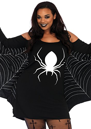 Leg Avenue Women's Plus Size Spiderweb Casual Halloween Jersey Dress, Black/White 1X-2X -