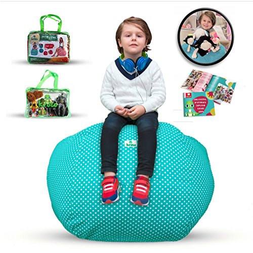 EXTRA LARGE Stuffed Animal Storage Bean Bag Cover for Kids Room -Stuff'n sit Toys Organizer - Big Storage Pouf Chair - Store Blankets & Pillow too - Perfect for Girls or Boys Room (Blue) +FREE EBOOK