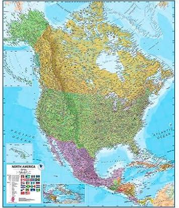 América del Norte laminado de pared Mapa: Amazon.es: Oficina y papelería