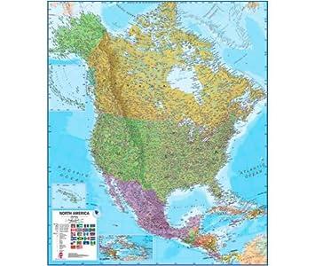 Amazoncom  North America Laminated Wall Map  Laminated Map Of