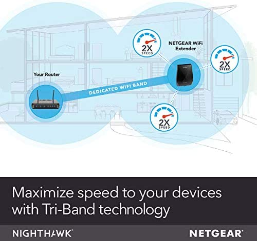 NETGEAR WiFi Mesh Range Extender EX7700 - Coverage as much as 2300 squareft. and 45 units with AC2200 Tri-Band Wireless Signal Booster & Repeater (as much as 2200Mbps pace), plus Mesh Smart Roaming