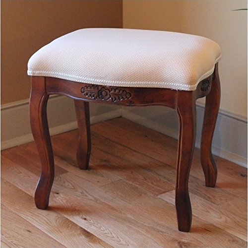 Hand Carved Wood Upholstered Vanity Stool (Wood Bench Vanity)